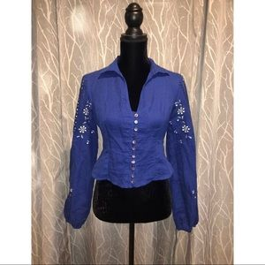 Embroidered Blouse Blue Top  Shirt  Smocked Back